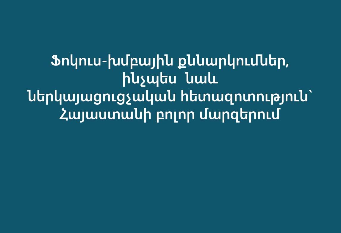 Ֆոկուս-խմբային քննարկումներ, ինչպես  նաև ներկայացուցչական հետազոտություն` Հայաստանի բոլոր մարզերում